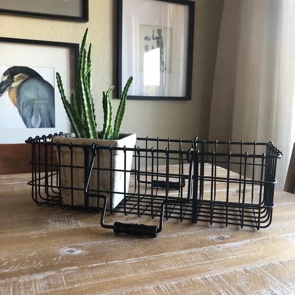 Vintage Black Metal Wire Basket with Handles